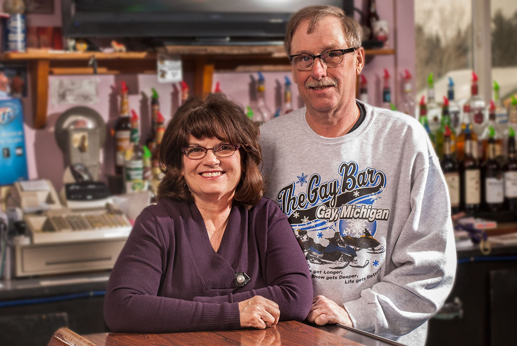 Bruce and Christine Fountain own the Gay Bar in Gay, Michigan.